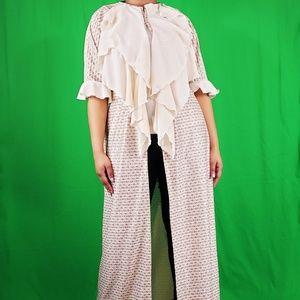 OPEN FRONT KIMONO DRESS WITH RUFFLES